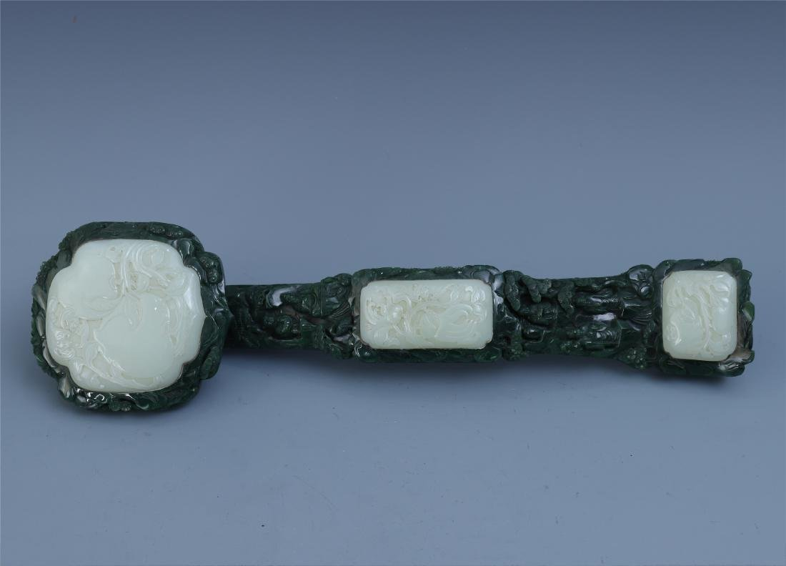 Finely Carved Chinese Green Jade Scepter Inlaid with