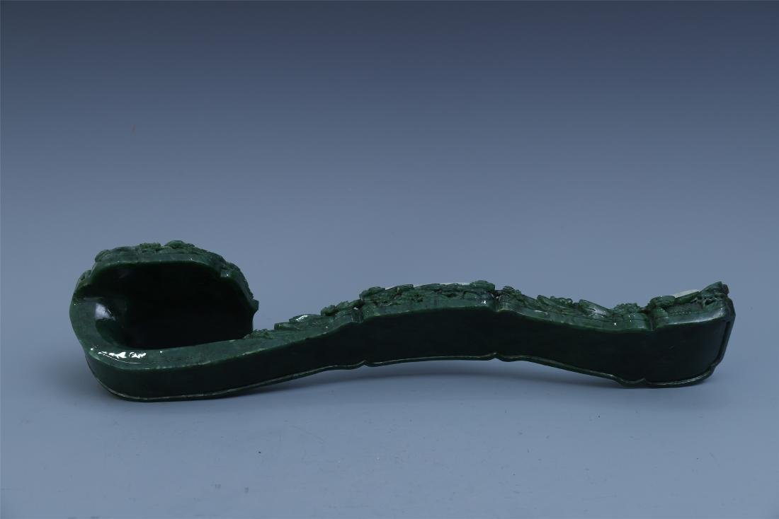 Finely Carved Chinese Green Jade Scepter Inlaid with - 2