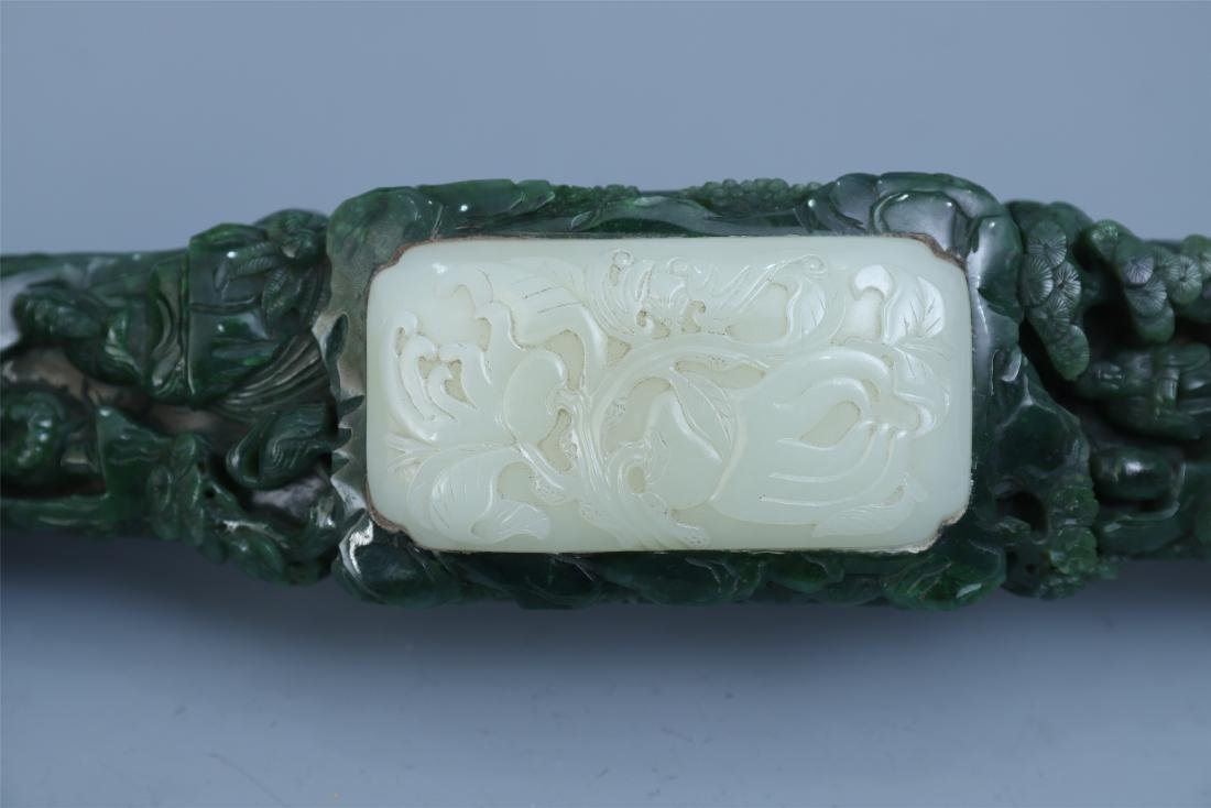 Finely Carved Chinese Green Jade Scepter Inlaid with - 5