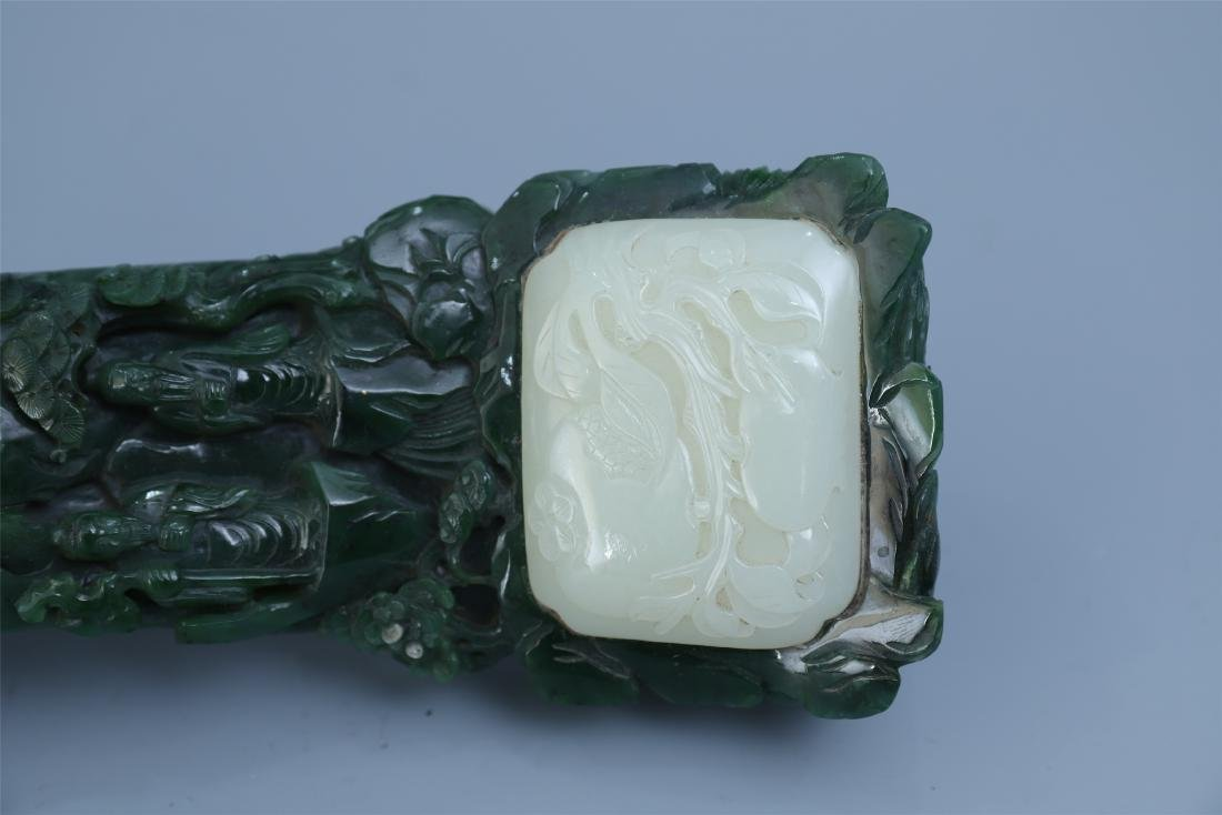 Finely Carved Chinese Green Jade Scepter Inlaid with - 7