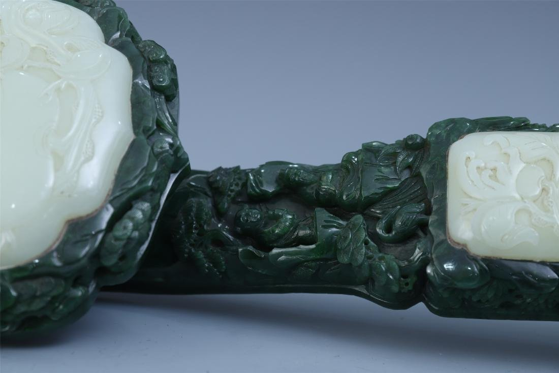 Finely Carved Chinese Green Jade Scepter Inlaid with - 9
