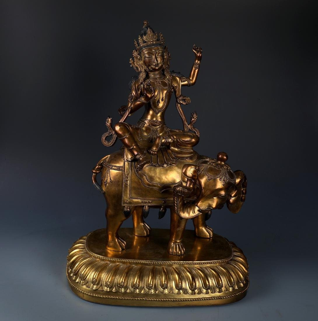 A Rare Chinese Gilt Bronze Samantabhadra with Mark