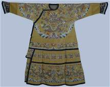 An  Imperial Chinese Yellow Ground Embroidered Silk