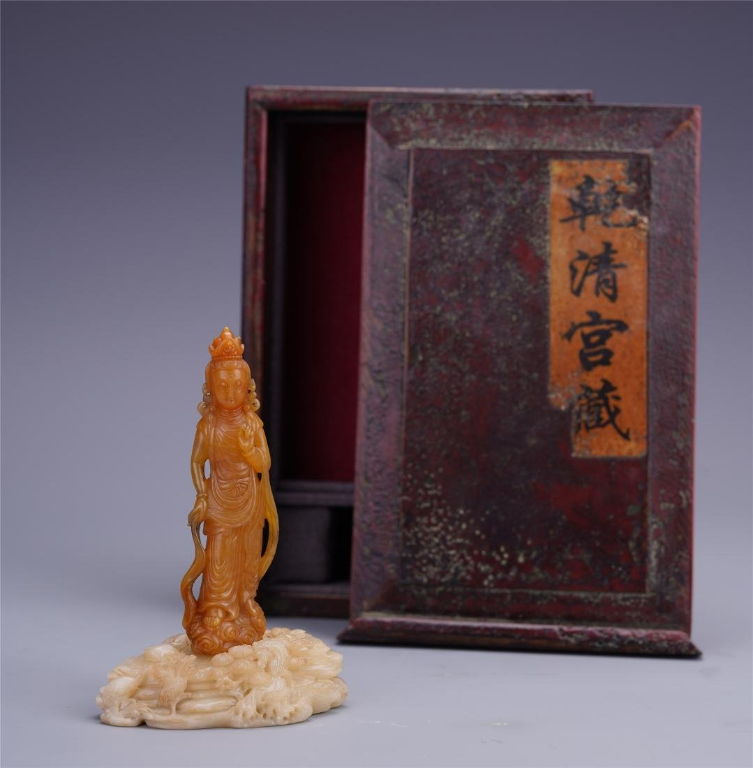 A Chinese Soapstone Carved Standing Guan Yin