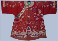 A Fine Chinese Red Silk Embroidered Dragon Robe