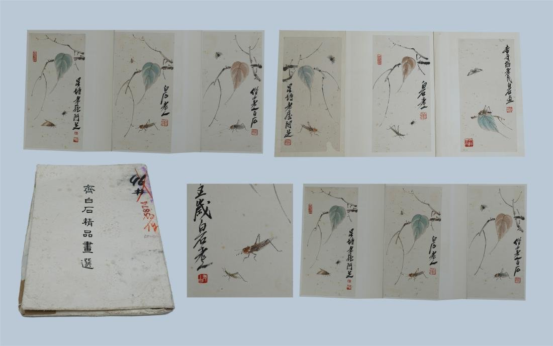 A Large Chinese Painting Album of Flower by Qi Baishi
