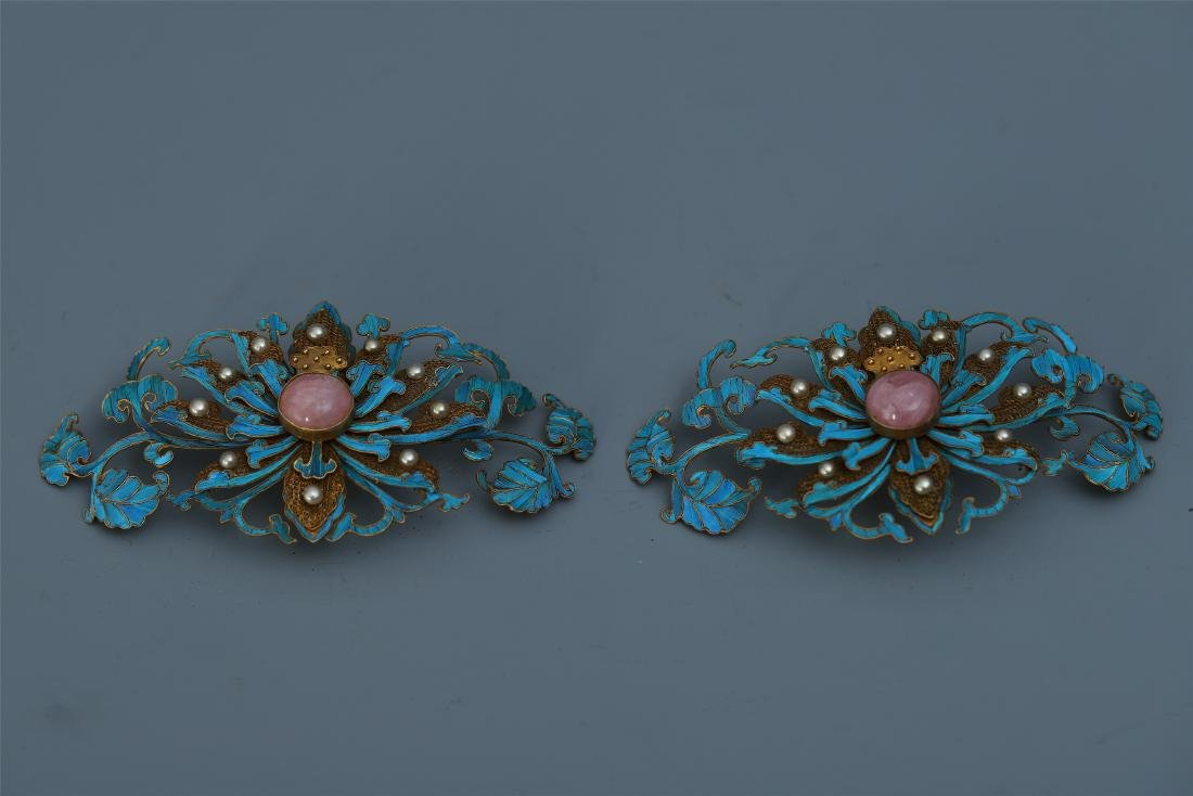 A  Pair of Chinese Silver Gilt Enameled Bird Feather