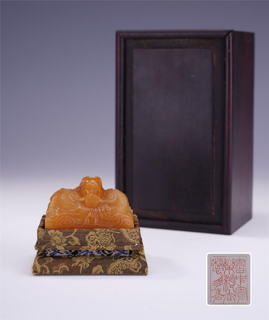 A Chinese Soapstone Seal with Dragon Finial