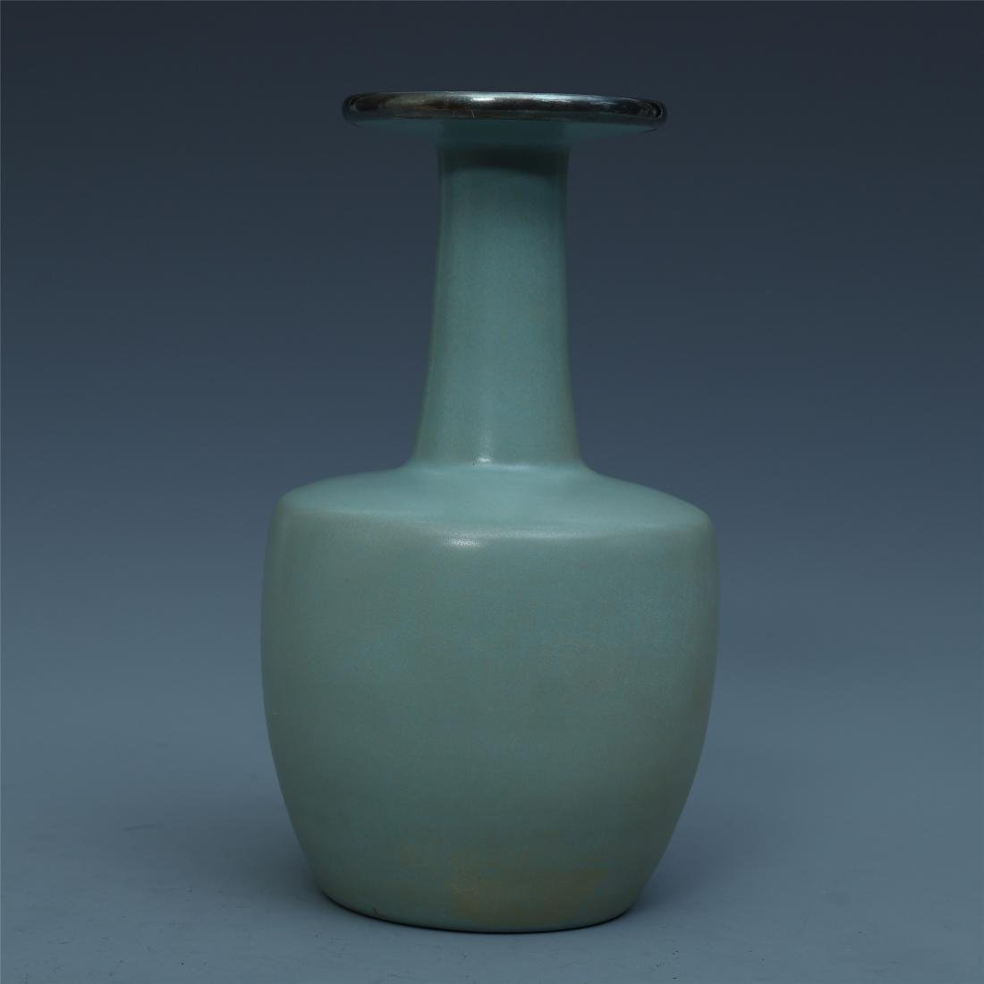 A Chinese Longquan Celadon Glazed  Vase with Silver