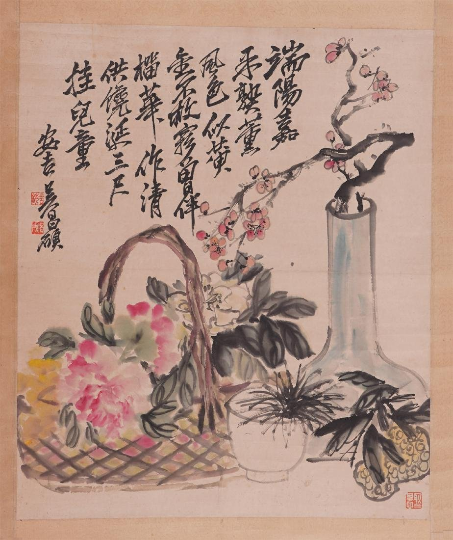 A Chinese Painting Hanging Scroll of Flower by Wu