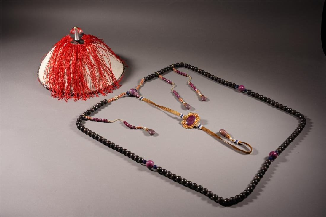 A Chinese Aloeswood Court Necklace and Official Hat Set