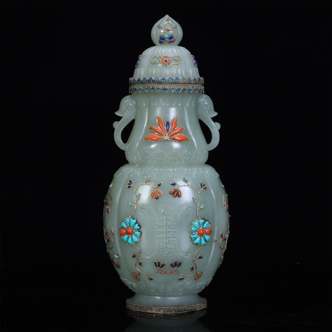 An Extremely Rare Jade Hindustan Vase Embellished with