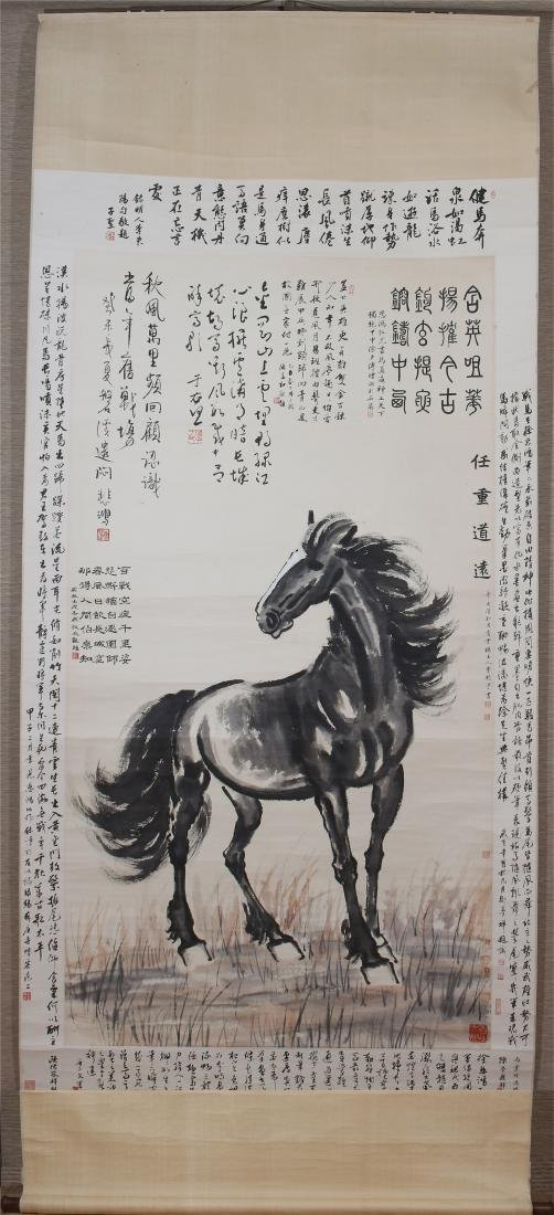 A Fine Chinese Hanging Painting Scroll of Horse by Xu