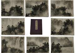 A Fine Chinese  Paint Album  leaves of Landscape by Fu
