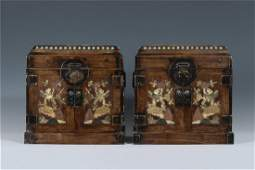 A Chinese Huanghuali Scholar Chest Inlaid with