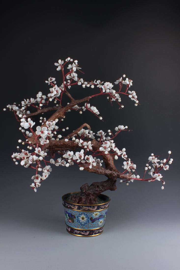 A Chinese Cloisonne  Bonsai with Multi-color precious