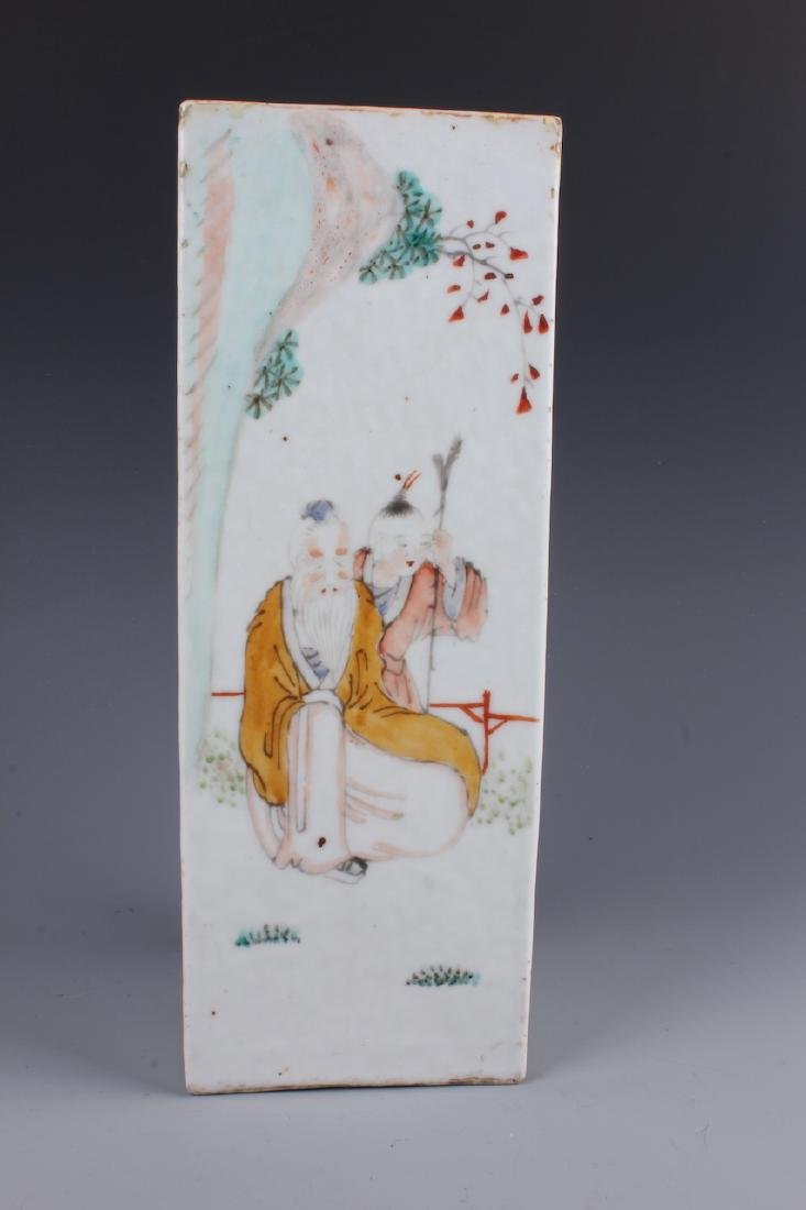 A Chinese Polychrome Enameled porcelain square shaped