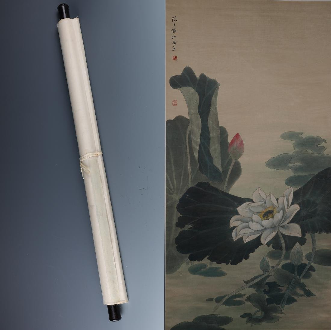 A Chinese Painting Scroll Depicting Lotus Signed by