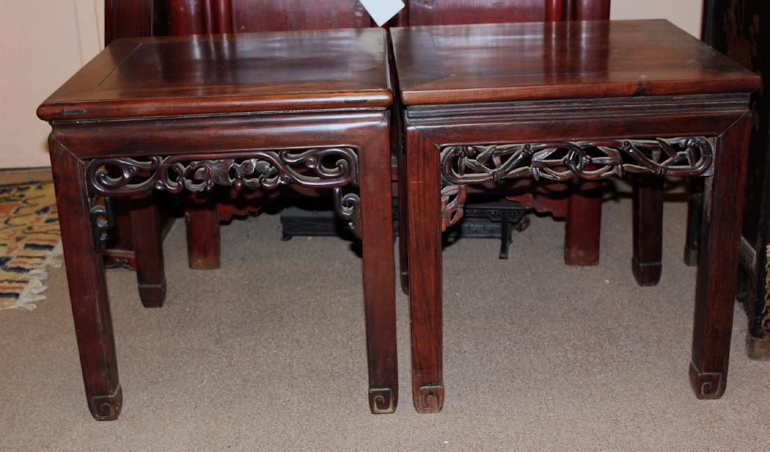 Pair of Fine  Carved  Chinese Rosewood Table Pair of