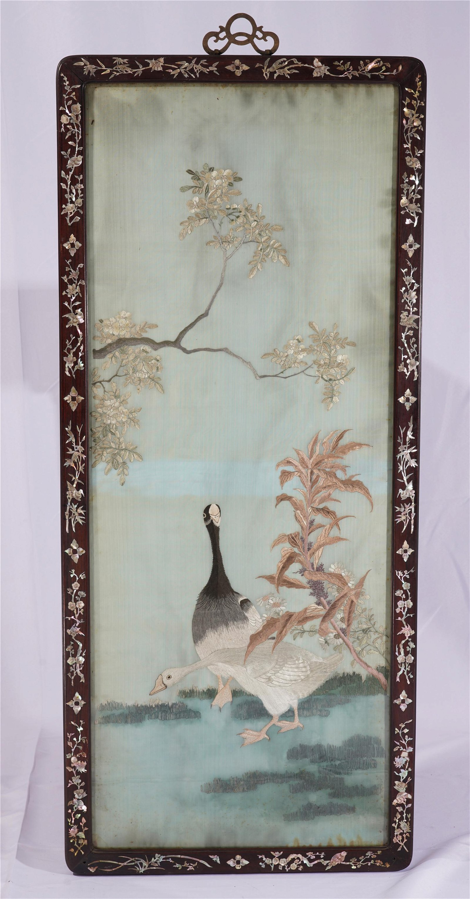 A Chinese Rosewood Framed and Mother of Pearl Inlaid