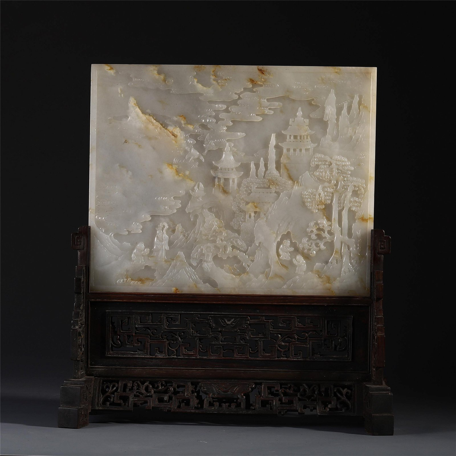 A Chinese Jade Carved Screen Engraved with Figure