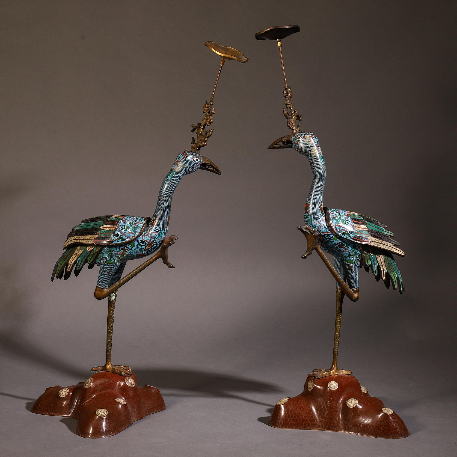 A Chinese Cloisonne Enamelled Crane Candle Stand