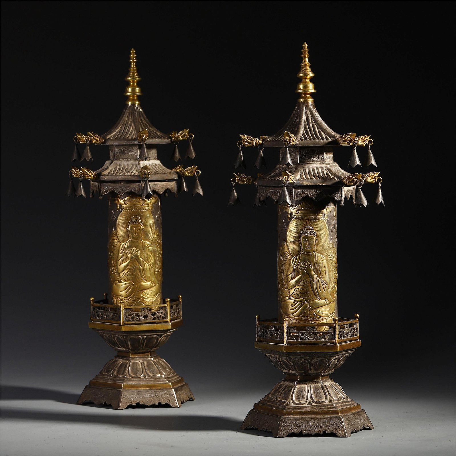 A Pair of Chinese Gilt Bronze Buddhist Scripts Pagoda