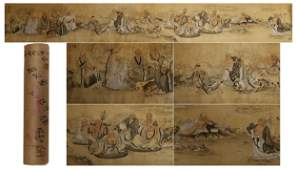A Chinese Painting Scroll of Luohan by Hongyi, Ink on