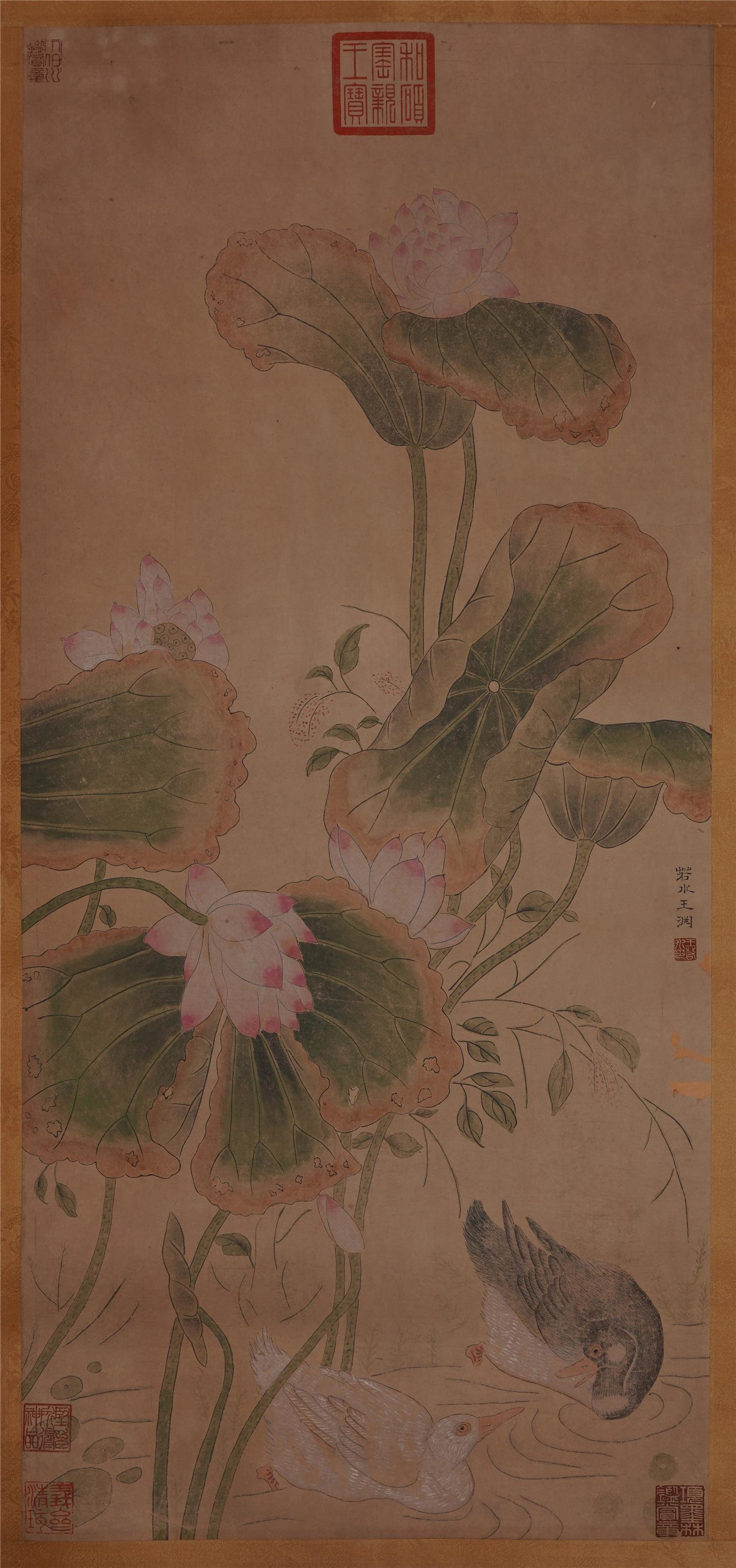 A Chinese Long Scroll Painting of Lotus Flower and