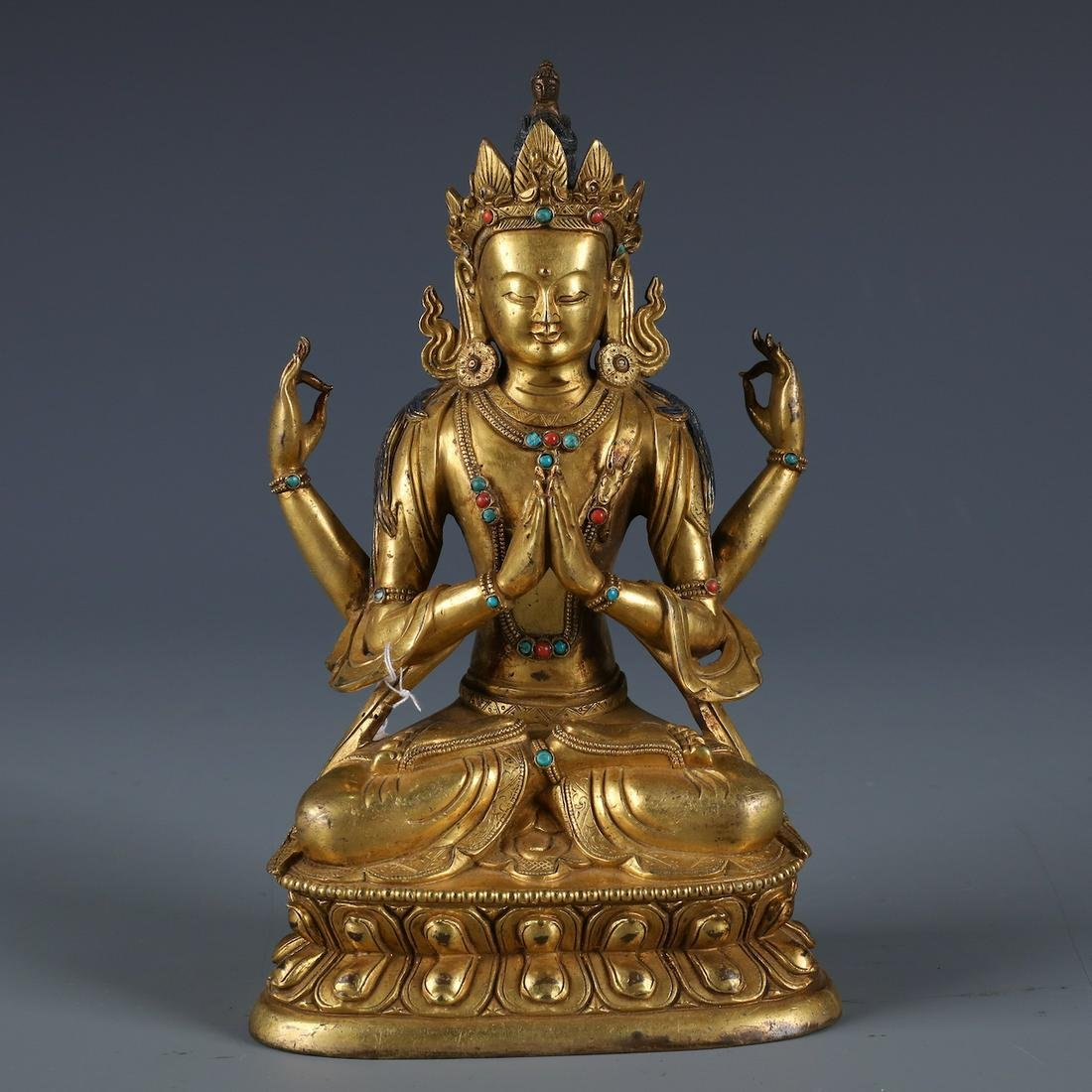 A Chinese Carved Gilt Bronze  Figure of Manjushri