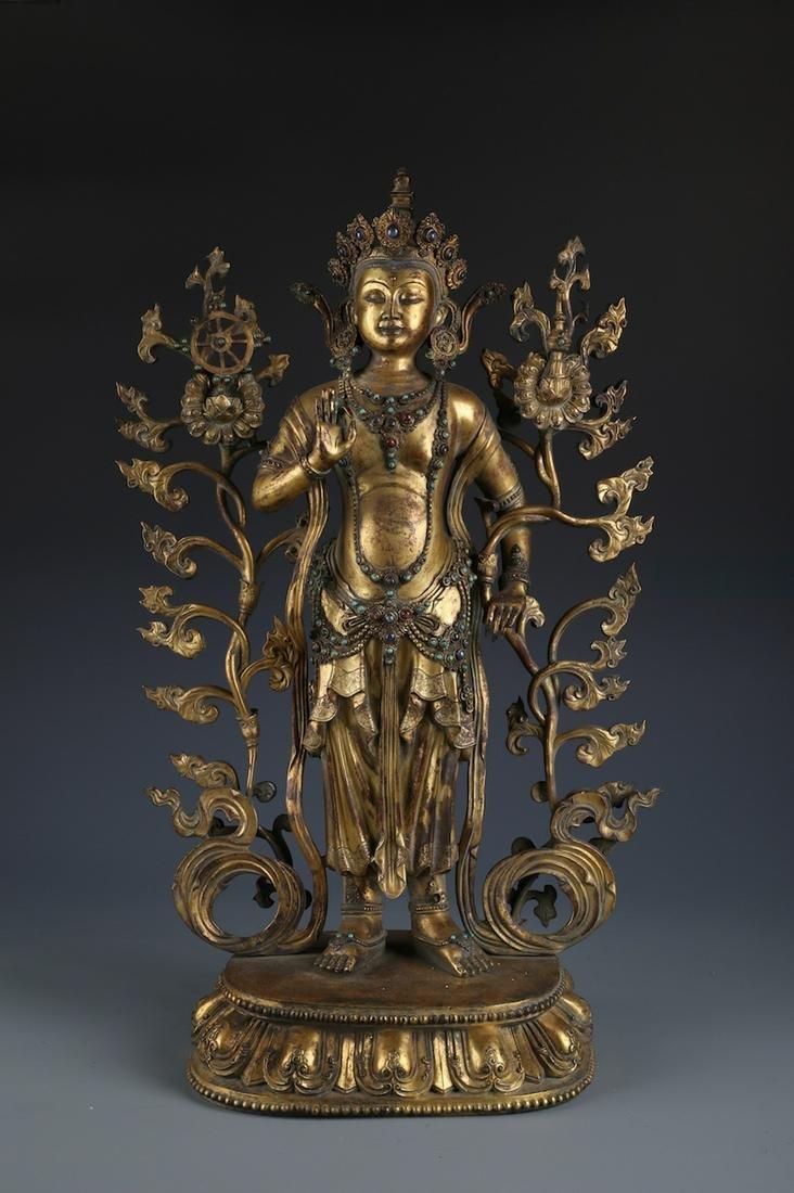 A Finely Cast Chinese Gilt Bronze Figure of Bodhisattva
