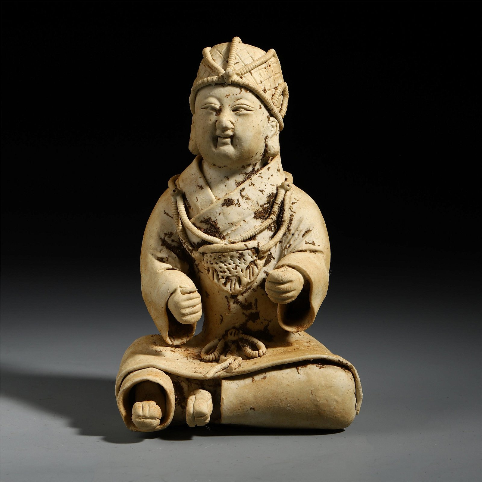 A Chinese White Carved Seated Pottery Figure