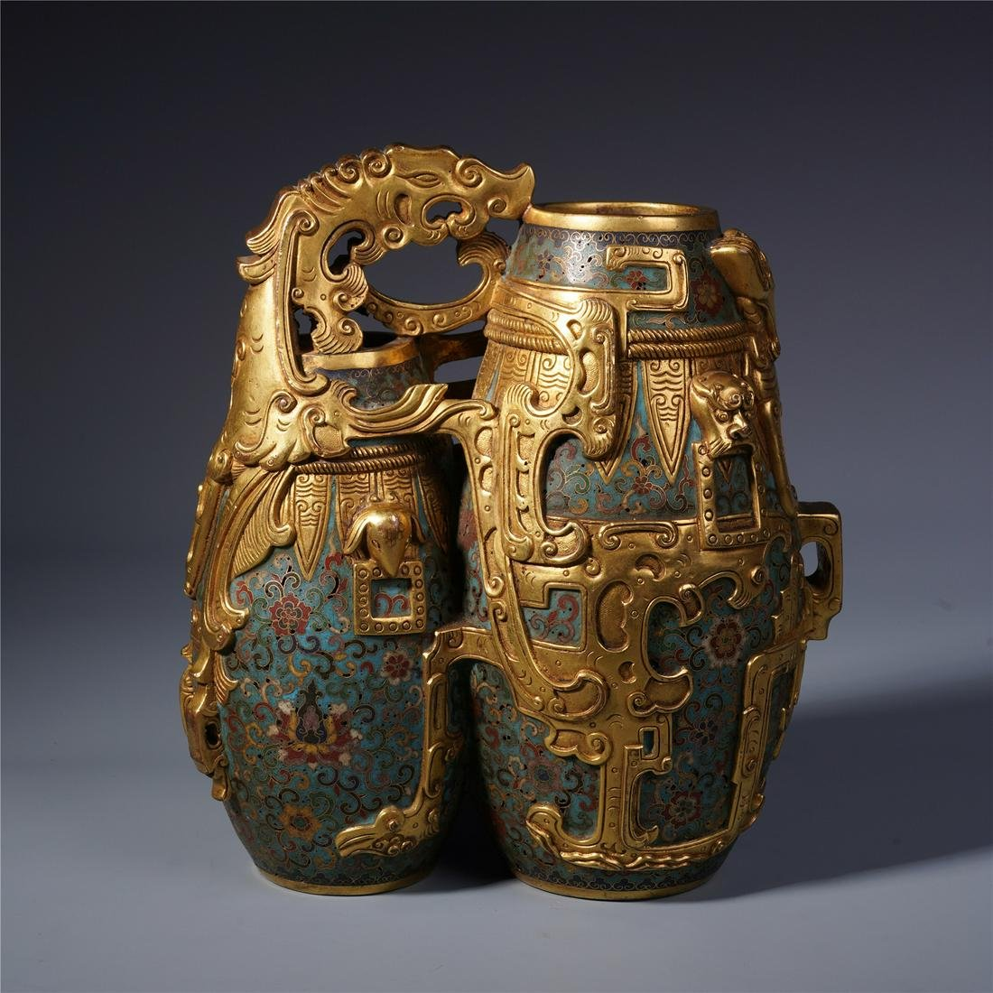 A Chinese Bronze and Cloisonne Enamelled Vase
