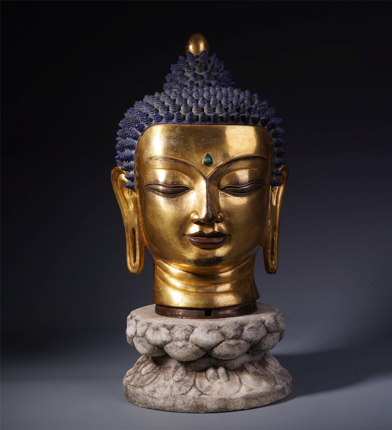 A Chinese Gilt Bronze Buddha Head and Stone Carved