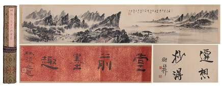 A Chinese Long Ink Painting Scroll of Landscape and
