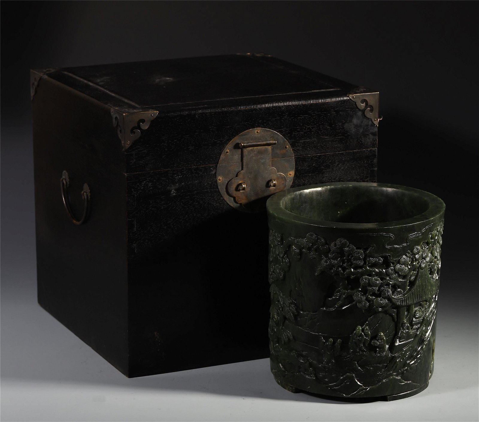A Rare Chinese Jade Carved Brush Holder