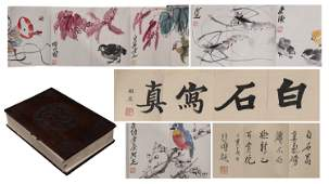 A Chinese Painting Scroll Album of Flowers Birds and