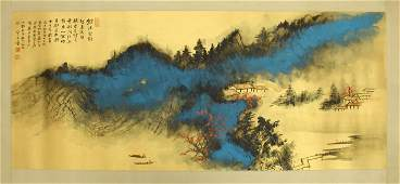 A Framed Scroll Painting of Landscape by Zhang Daqian,