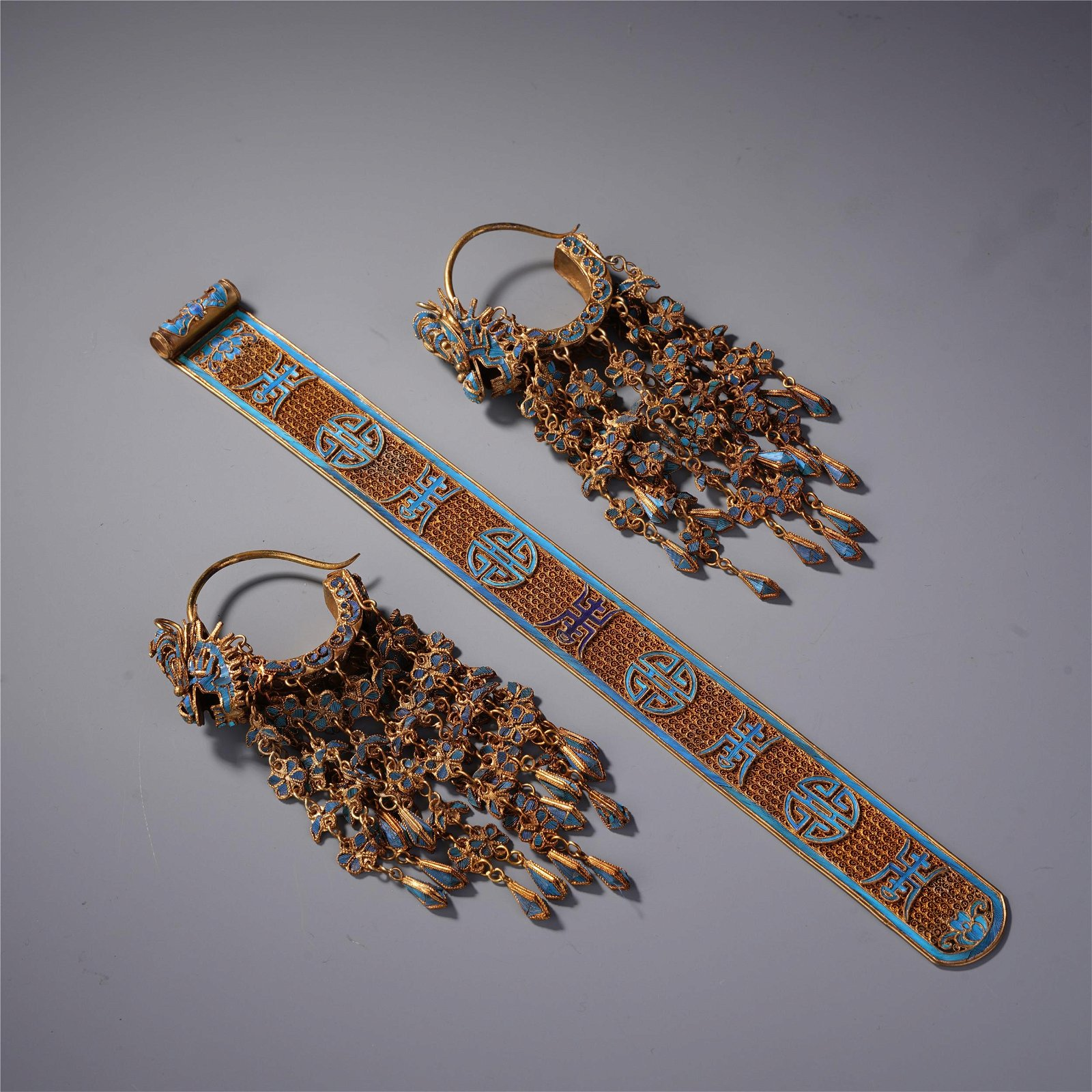A Set of Chinese Bird Feather Hair Ornament