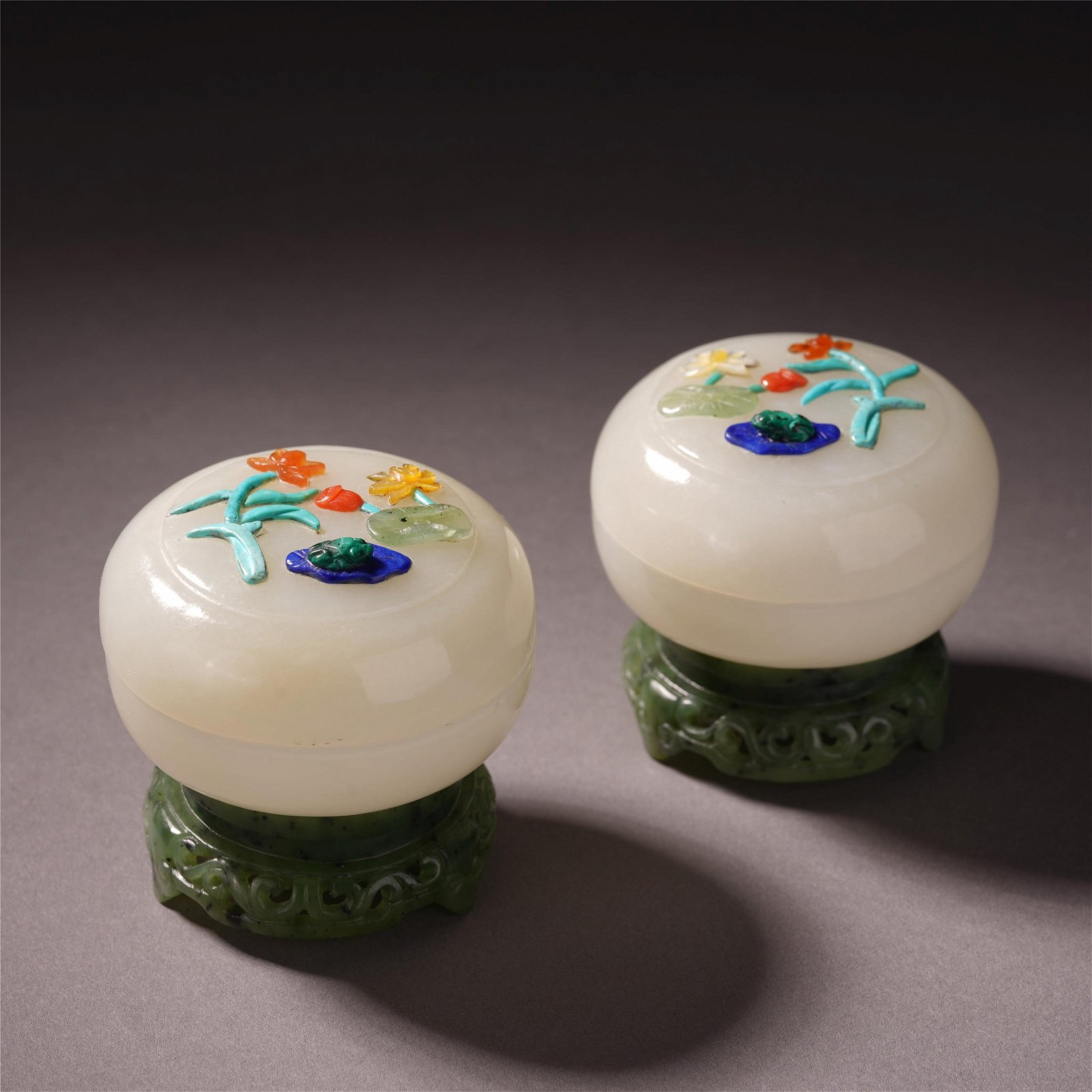 "A Pair of Chinese Jade ""Floral"" Box and Cover"