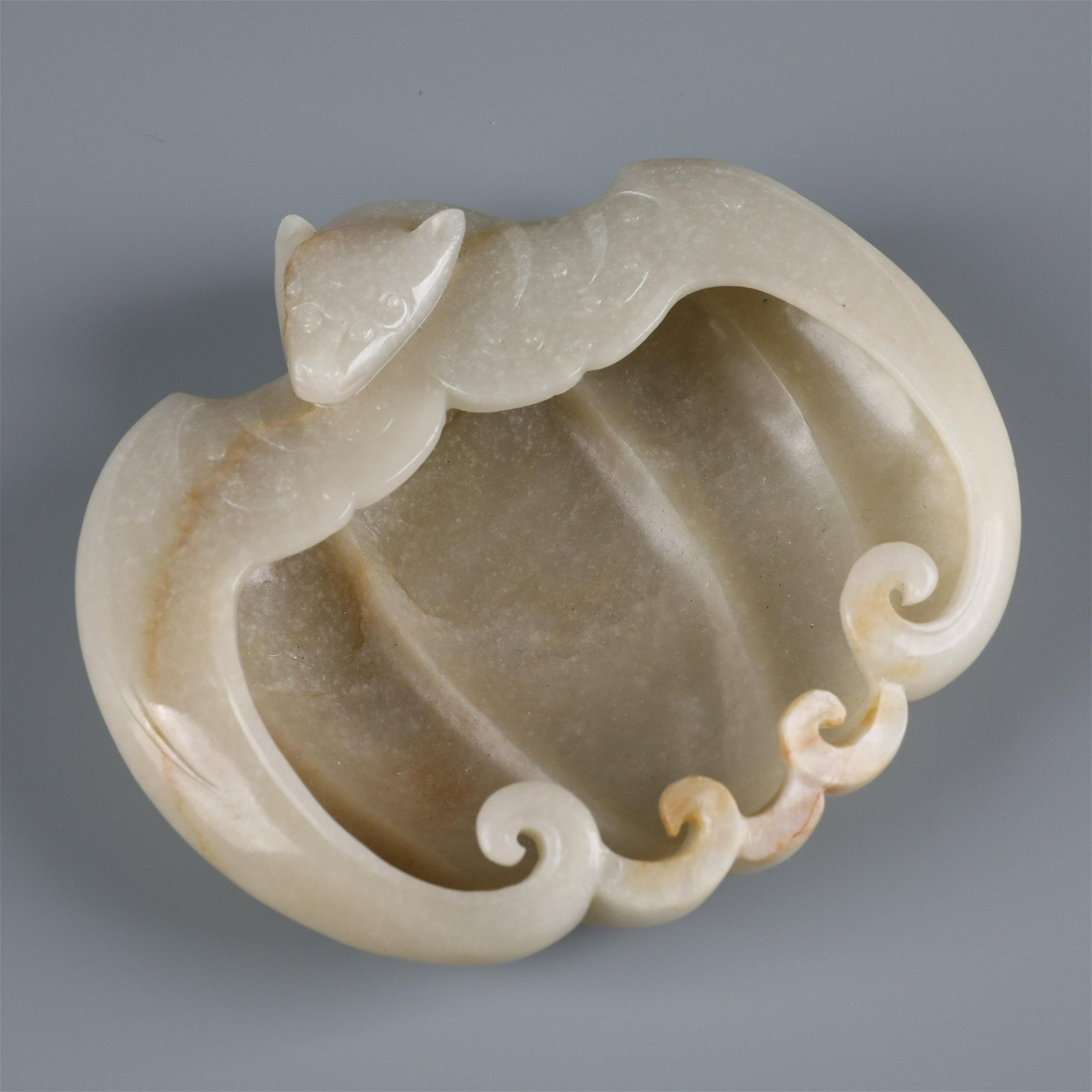 A Fine Chinese Carved White Jade Bat Brush Washer