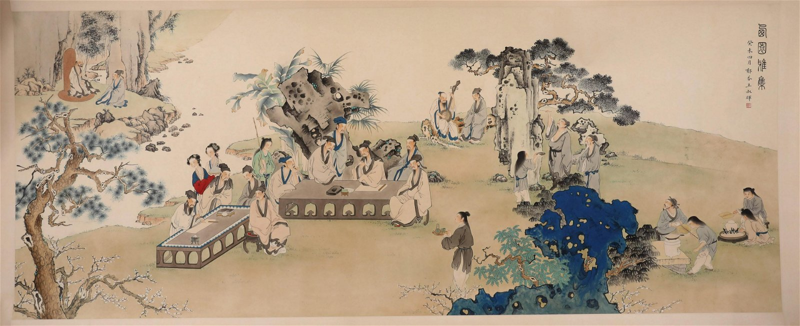 A Fine Chinese Hand-drawn Painting Signed By Wang Shu