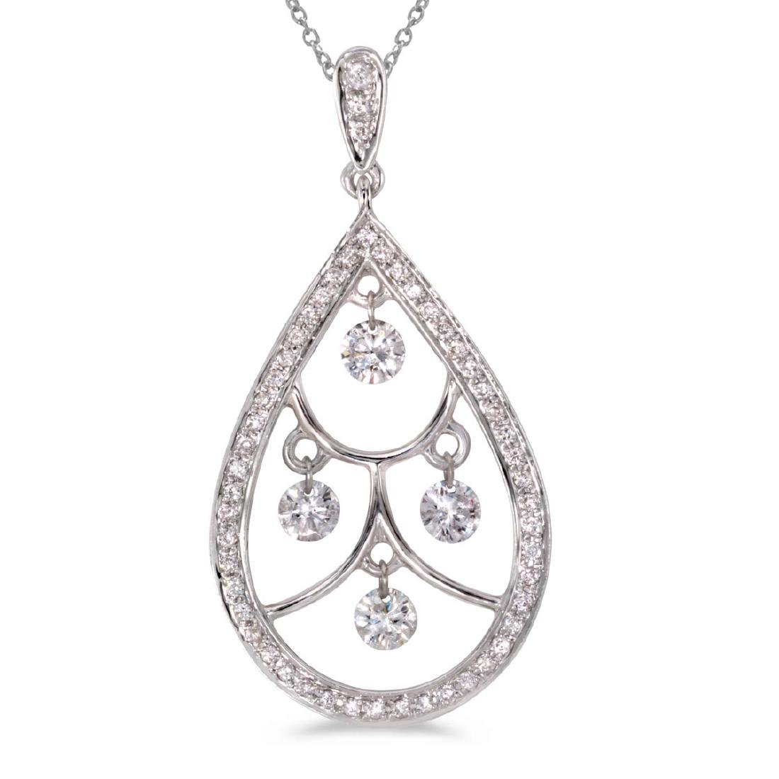 Certified 14K White Gold Dashing Diamonds Pendant