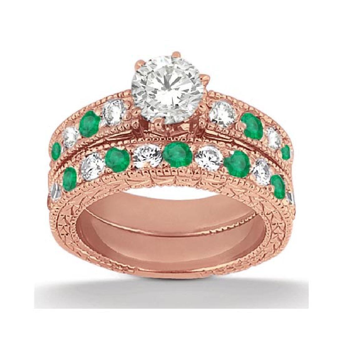 Antique Diamond and Emerald Bridal Set 18k Rose Gold