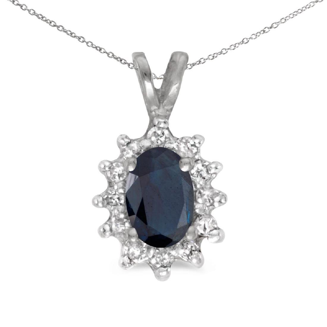 Certified 10k White Gold Oval Sapphire And Diamond Pend