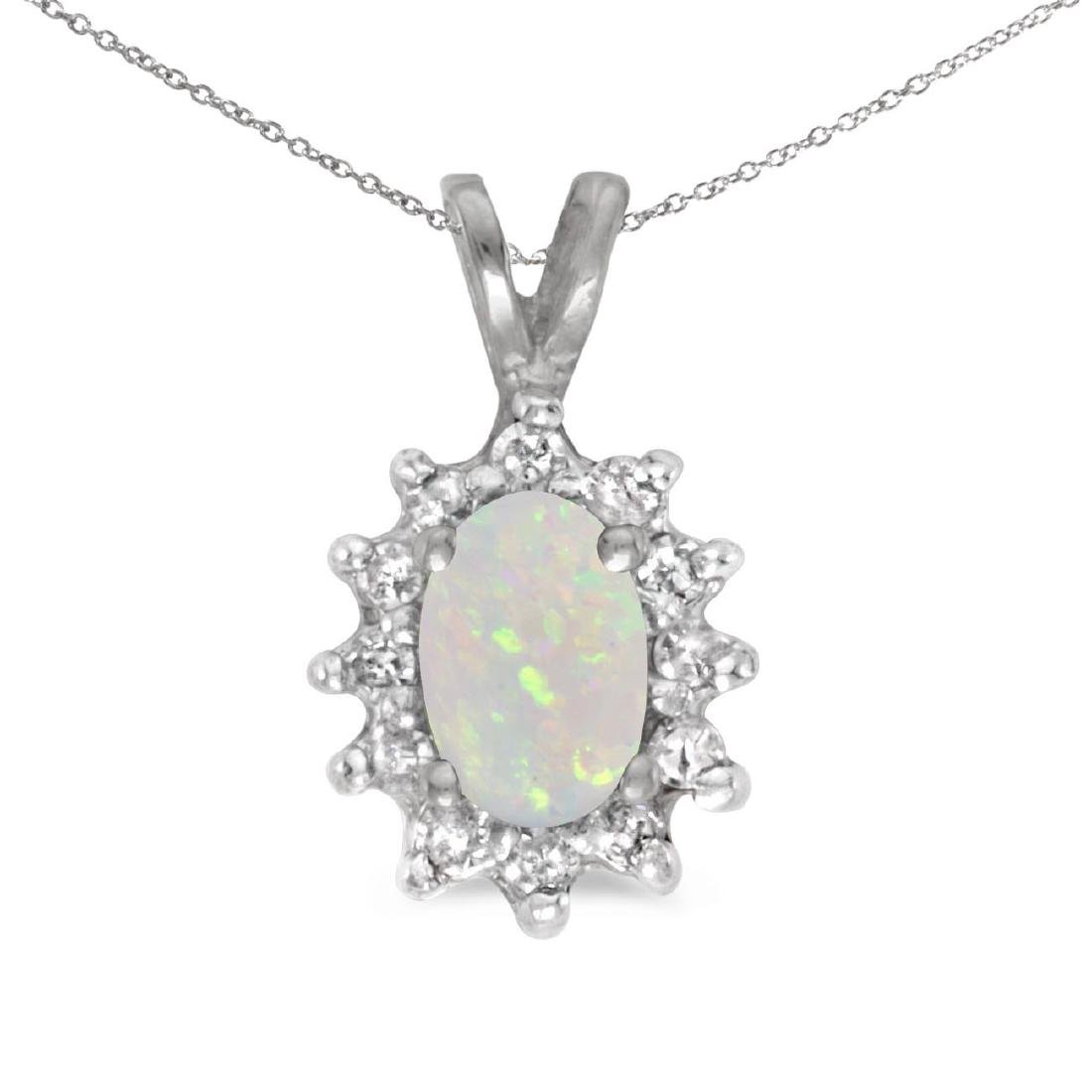 Certified 10k White Gold Oval Opal And Diamond Pendant