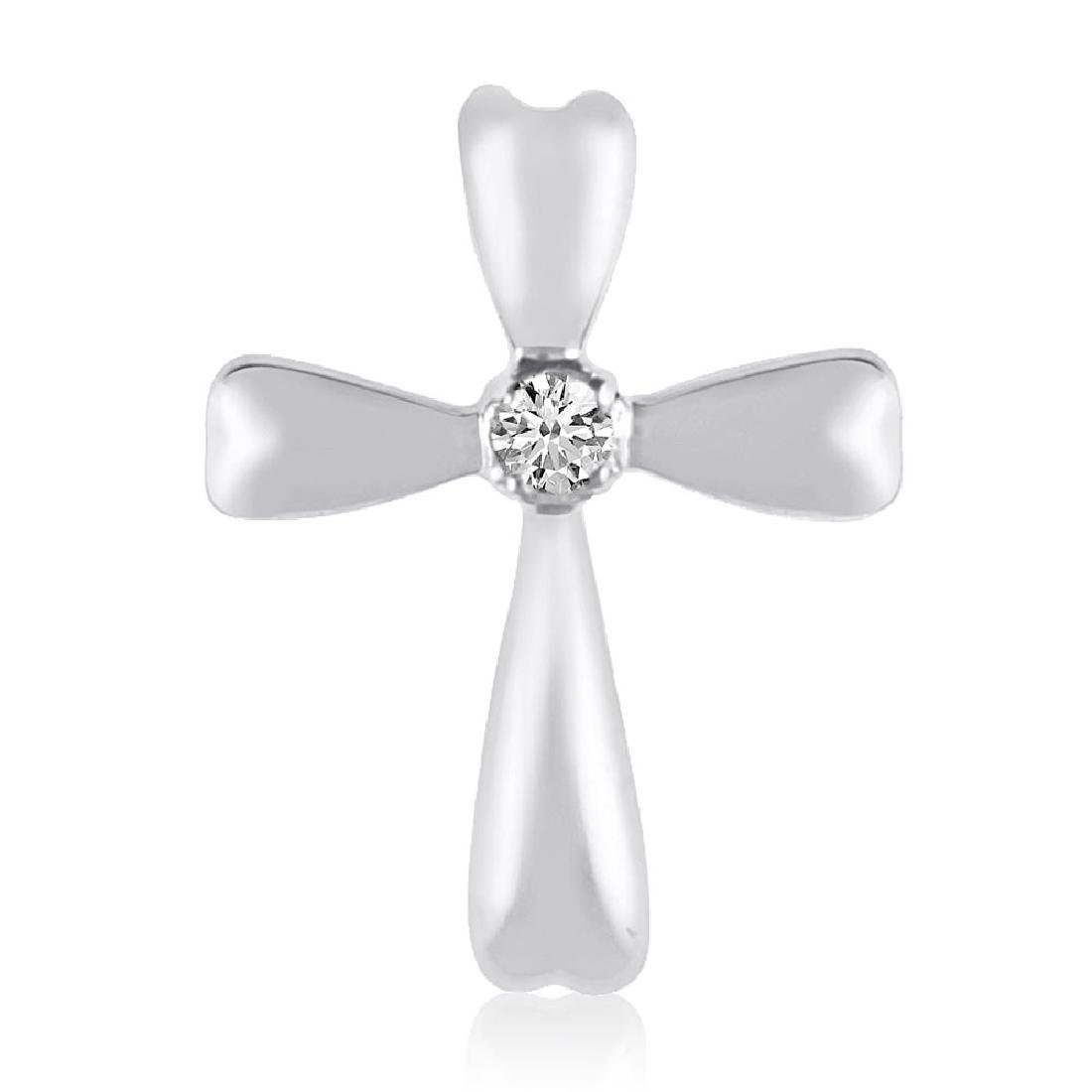 Certified 14K White Gold Diamond Cross Pendant