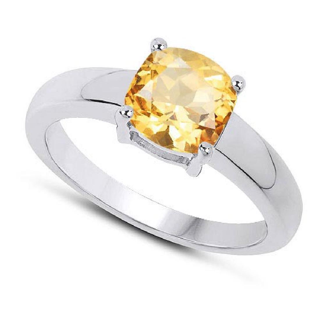 Certified 1.50 CTW Genuine Citrine And 14K White Gold R