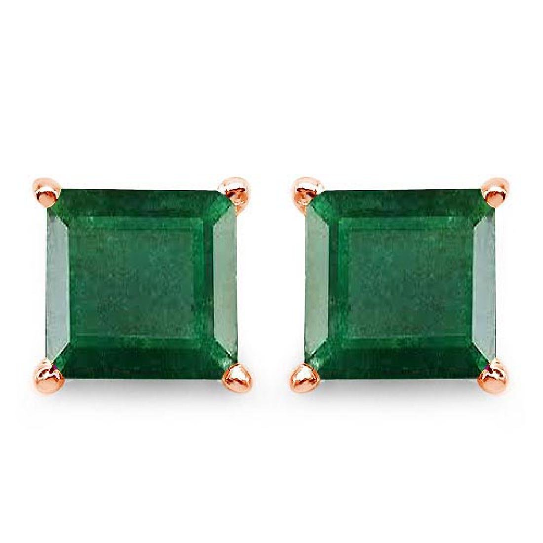 Certified 2.50 CTW Genuine Emerald And 14K Rose Gold Ea