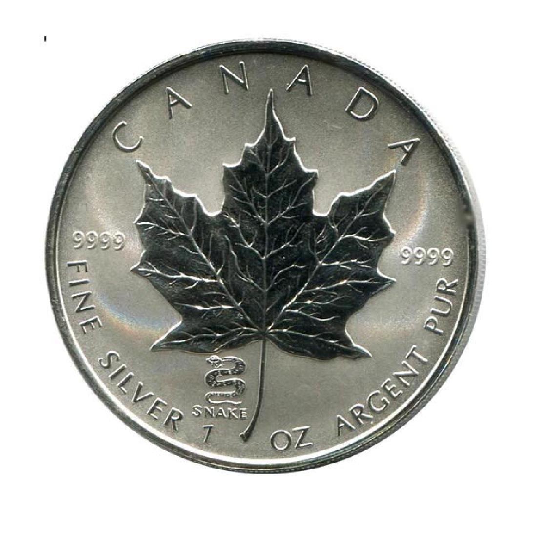 2001 Canada 1 oz. Silver Maple Leaf Reverse Proof Snake